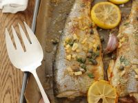 Baked Trout with Garlic, Capers and Lemon recipe