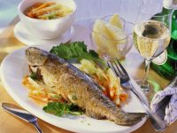 Baked Trout with Kohlrabi and Carrots recipe