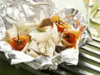 Baked Turbot with Mushrooms and Tomatoes recipe