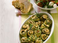 Baked Zucchini and Eggplant Rolls with Mozzarella and Tomato Salad