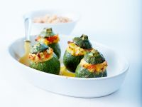 Baked Zucchini Stuffed with Feta and Tomatoes recipe