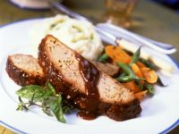 Barbecue Meatloaf with Mashed Potatoes and Vegetables recipe