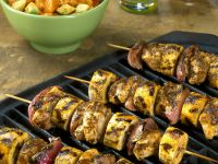 Barbecued Chicken and Banana Kebabs recipe