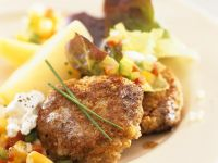 Barley Patties with Vegetable Salad and Oak Leaf Lettuce