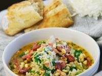 Barley Soup with Pine Nuts and Bacon recipe