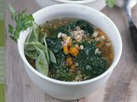 Barley Soup with Spinach recipe