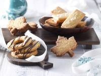 Orange-Leaf Sandwich Cookies, Chocolate-Drizzled Coconut Rings and Chocolate-Hazelnut Bar Sandwich Cookies recipe