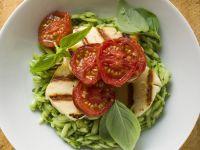 Basil Pesto Orzo Topped with Grilled Mozzarella recipe