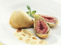 Battered and Fried Figs with Almond Sauce recipe
