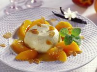 Bavarian Cream with Peach Compote