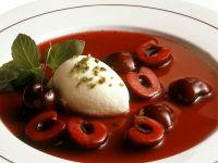 Bavarian Vanilla Ice Cream with Sour Cherry Compote recipe