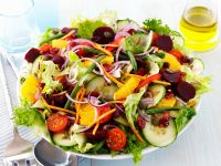 Bean, Beet and Tomato Salad with Cucumber, Orange and Seeds