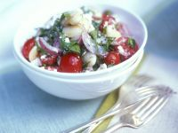 Bean Salad with Tomatoes, Feta and Basil recipe