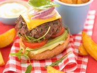 Beef and Cheese Burger with Avocado recipe