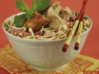 Beef and Noodle Stir Fry with Chicken Nems recipe