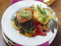 Beef and Veal Medallions with Polenta Muffins and Vegetables recipe