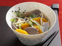 Beef Broth with Sprouts and Pumpkin recipe