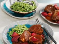 Beef Cheeks in Wine Sauce with Rhubarb recipe