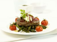 Beef Fillet on Green Asparagus with Cherry Tomatoes recipe