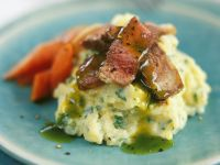 Beef Fillet with Herb Sauce and Herb Mashed Potatoes recipe