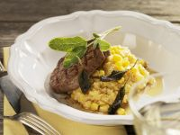 Beef Fillet with Polenta, Sweet Corn and Sage recipe