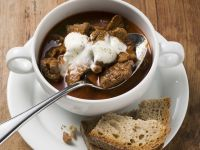 Beef Goulash Soup with Sour Cream recipe