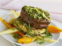 Beef Steak over Vegetables recipe