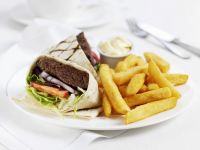 Beef Patty, Lettuce, and Tomato Wraps recipe