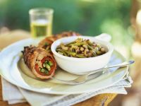 Beef Roulades with Bell Peppers, Scallions and Bean Salad recipe