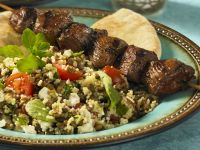 Beef Skewers and Couscous Salad with Lentils recipe