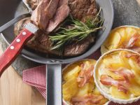 Beef Steak with Bacon Gratin recipe