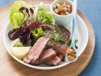 Beef Steaks with Tomato and Olive Salsa recipe