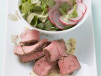 Beef Steaks with Watercress and Radishes Salad