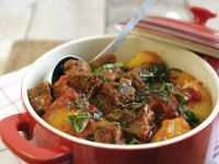 Beef Stew with Potatoes, Peppers and Tomatoes recipe