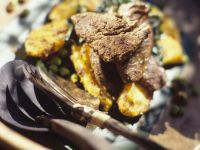 Beef Strips with Green Vegetables and Saffron Potatoes recipe