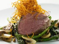 Beef Tenderloin with Asparagus and Crispy Carrots recipe