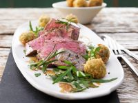 Beef Tenderloin with Rosemary and Arugula Salad recipe