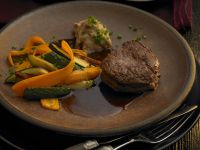 Beef with Mixed Vegetables and Chestnut Puree recipe