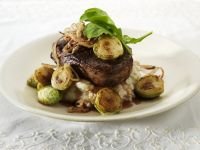 Beef with Steaks with Mashed Potatoes, Brussels Sprouts and Onion Rings recipe