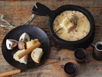 Cheese and Bacon Fondue with Bread and Mushrooms recipe