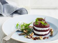 Beet and Goat Cheese Stack with Walnuts recipe