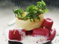 Gourmet Beet Dumplings with Seafood recipe