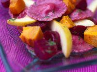 Beet Ravioli Salad with Pumpkin and Pear recipe