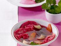 Beet Soup with Sauerkraut Filled Dumplings