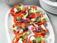 Bell Peppers Stuffed with Zucchini, Olives and Feta recipe