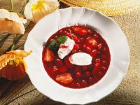 Berry Soup with Whipped Cream Dumplings recipe