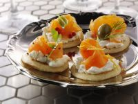 Blini with Cream Cheese and Smoked Salmon recipe