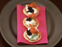 Blini with Horseradish Cream, Smoked Salmon and Caviar recipe