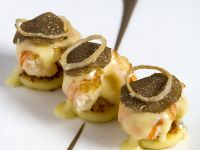 Blinis with Shrimp, Parmesan Sauce, and Black Truffle recipe
