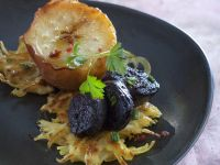 Sliced Boudain Noir with Potato Rosti recipe
